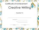 Creative Writing Achievement Princess Certificate