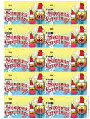 Seasons Greetings Gift Tag Template - Monster