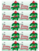 Happy Holidays Gift Tag Template - Snowflakes