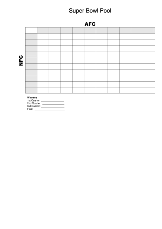 Super Bowl Pool Template Grid - 10 By 10