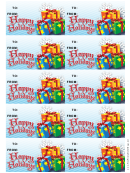 Happy Holidays Gift Tag Template - Presents