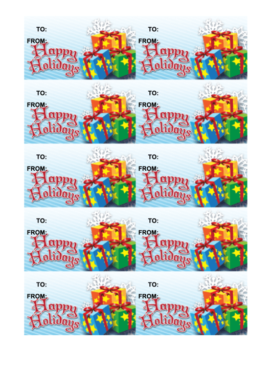 Happy Holidays Gift Tag Template - Presents Printable pdf