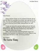 Stuffed Animal Easter Bunny Letter Template
