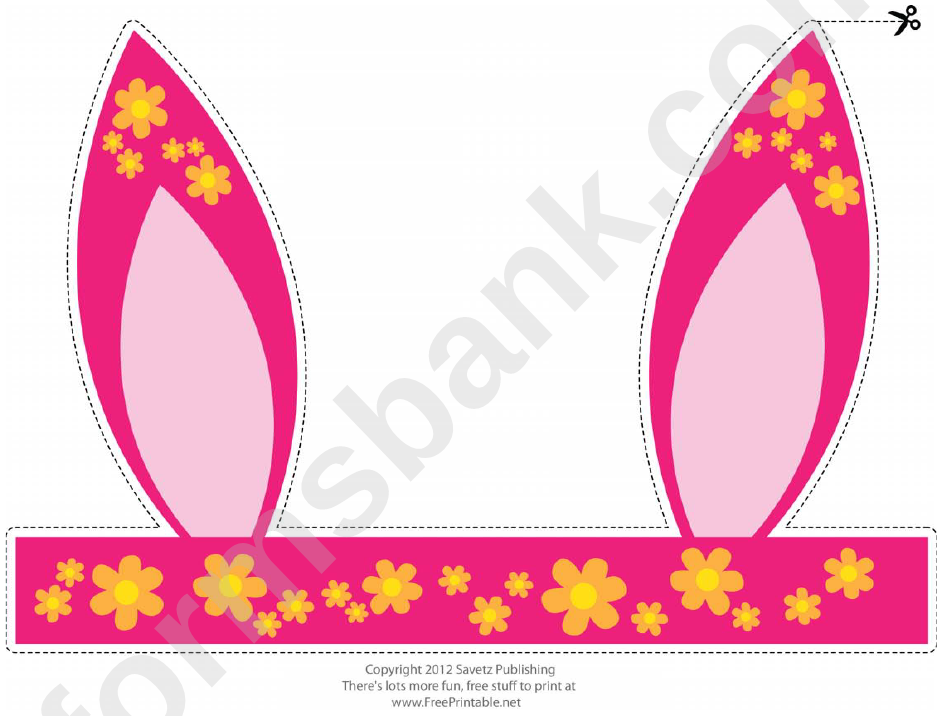 Flower Pattern Easter Bunny Ears Template printable pdf download