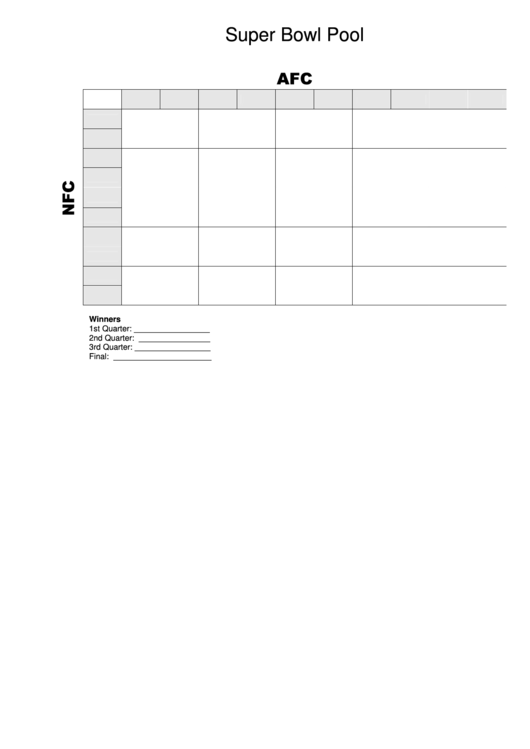 Super Bowl Pool Template Grid - 5 By 5