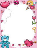 Love Cupid And Hearts Page Border Templates