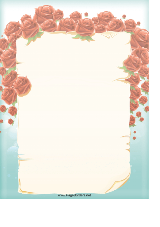 Fillable Roses Page Border Template Printable pdf