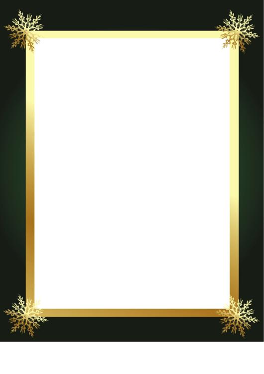 4 Snowflakes Black Border Printable pdf