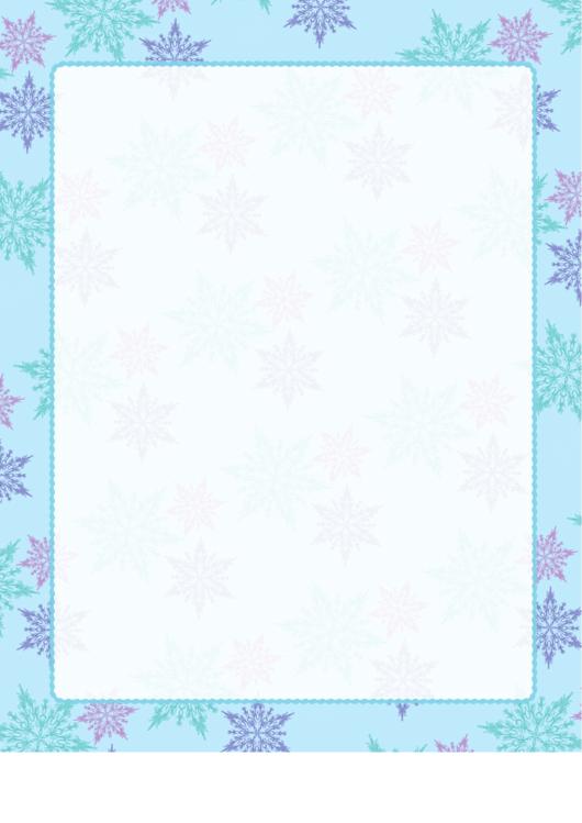 Teal Snowflakes Page Border Templates Printable pdf