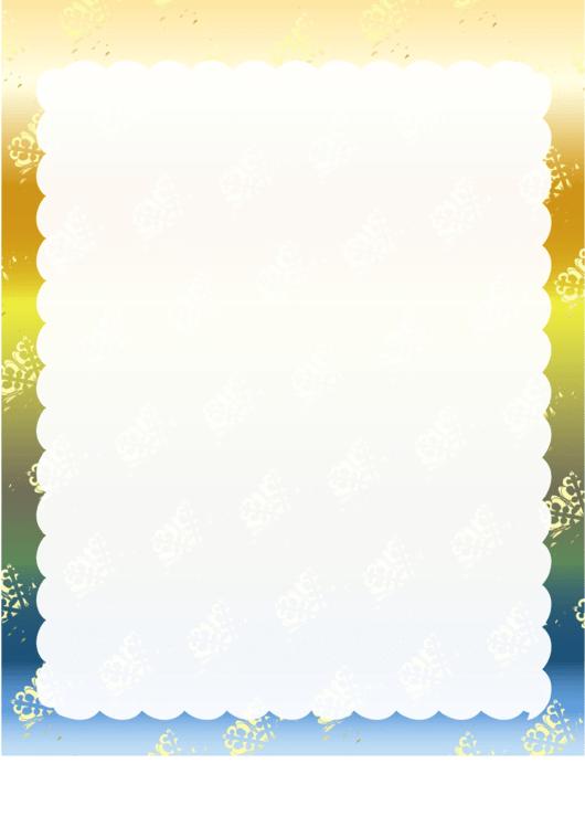 Snow On Blue Page Border Templates Printable pdf