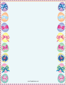 Easter Eggs With Ribbons Page Border Template