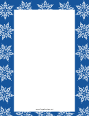 Snowflakes On Blue Background Page Border Templates