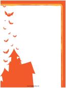 Bats Orange Page Border Templates