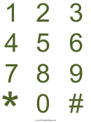 Green Numbers Chart Template