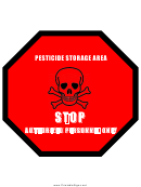 Pesticide Storage Area Warning Sign Template