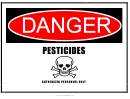 Danger Pesticides Warning Sign Template