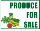 Produce For Sale Sign
