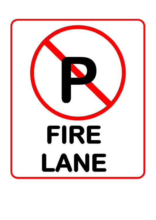 Fire Lane No Parking Warning Sign Template