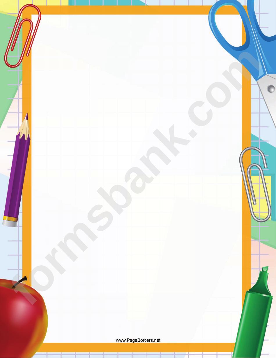 Paper Clip And Scissors Paper Border