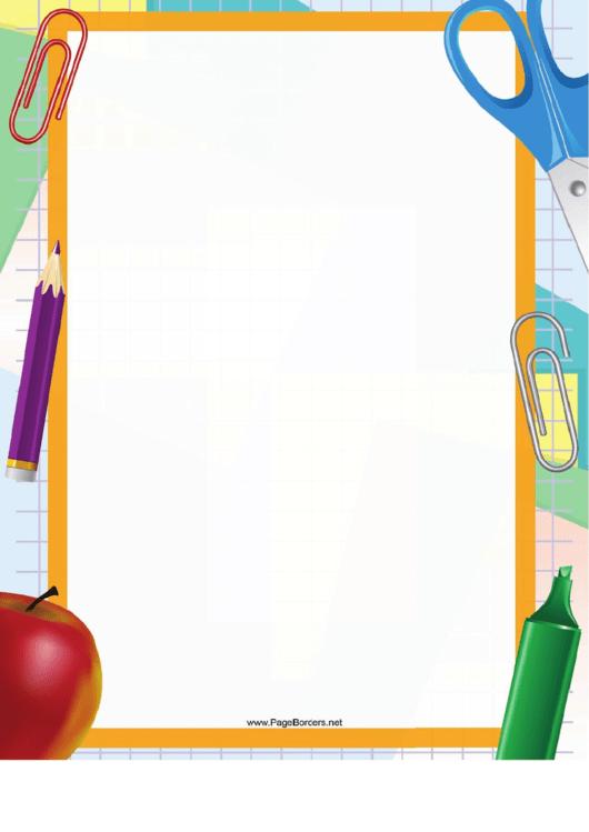 Paper Clip And Scissors Paper Border Printable pdf