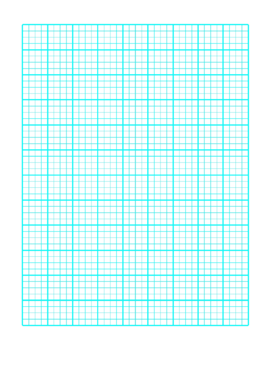 1 Inch Graph Paper Teal