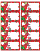 Fruits And Vegetables Gift Tag Template - Strawberries