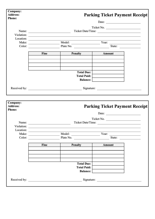 Parking Ticket Template Pdf