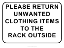 Clothing Return Sign