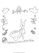 Rabbit And Eggs Holiday Coloring Sheets