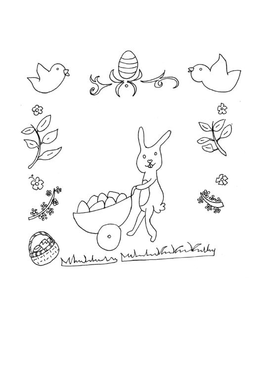 Rabbit And Eggs Holiday Coloring Sheets