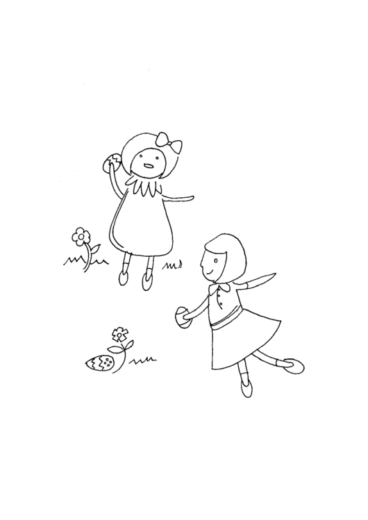Girls With Eggs Holiday Coloring Sheets