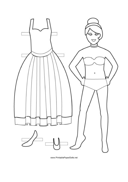 Dress Paper Doll Coloring Sheet