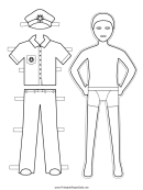 Navy Paper Doll Coloring Pages