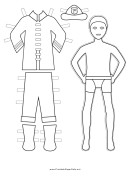 Fireman Paper Doll Coloring Pages