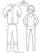 Firewoman Paper Doll Coloring Pages