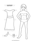 Party Paper Doll Coloring Pages