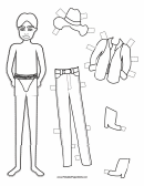 Cowboy Paper Doll Coloring Pages