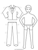 Suit Paper Doll Coloring Pages