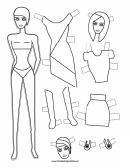 Party Asymmetric Dress Paper Doll Coloring Pages