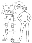 American Football Paper Doll Coloring Pages