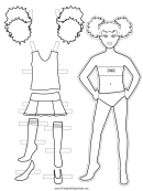 Cheerleader Paper Doll Coloring Pages