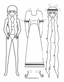 Long Hair Paper Doll Coloring Pages