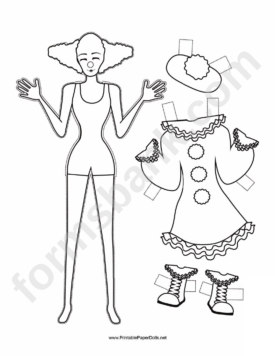 Clown Paper Doll Coloring Pages printable pdf download