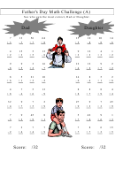 Father's Day Math Challenge Worksheets With Answer Key