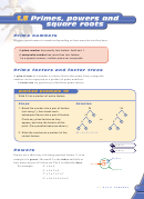 Exercise 1.5 Primes, Powers And Square Roots Worksheet - Heinemann Maths Zone