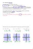 2.2 Quadratic Functions Worksheet With Answers