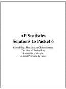 Ap Statistics Solutions To Packet 6 - Probability The Study Of Randomness Worksheet With Answers