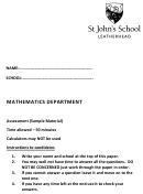 Algebra Worksheet - St John's School