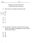 Common Core Worksheet For Students Entering Third Grade - Garden City Public Schools