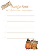 Happy Thanksgiving Thankful Sheet